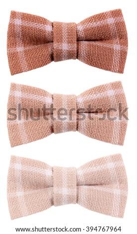 Brown beige plaid hair bow tie three shades - stock photo