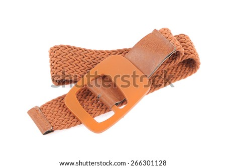 Brown belt isolated on white background - stock photo