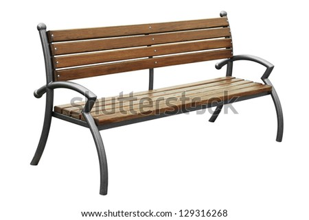 Brown bench isolated on white background - stock photo