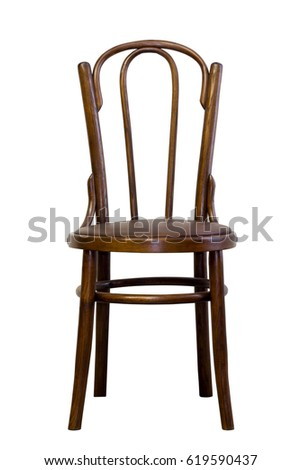 brown bentwood chair isolated on a white background