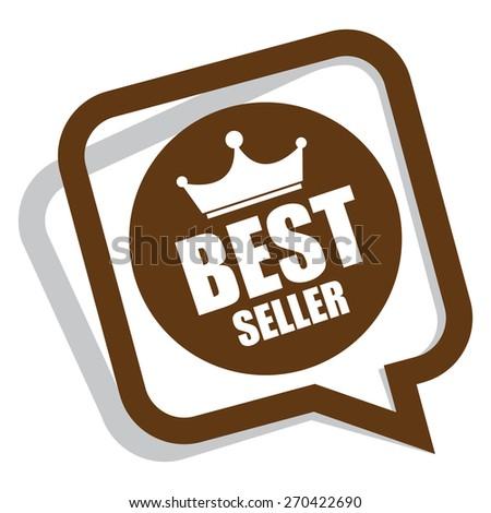 brown best seller speech bubble, speech balloon, sticker, sign, icon, label isolated on white - stock photo
