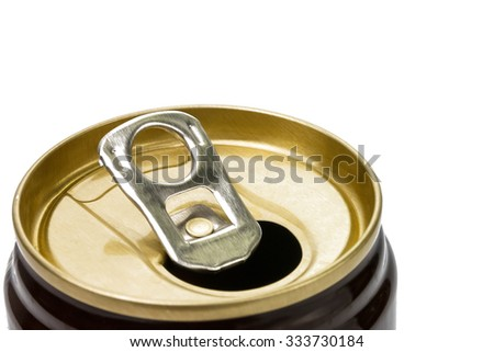 Brown beverage aluminium can, top view, on white background.