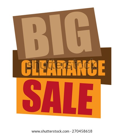 brown big clearance sale sticker,  icon,  label, banner, sign isolated on white  - stock photo