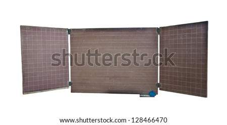 brown blank blackboard, wooden frame, chalk - empty chalkboard isolated, clipping path Copy space for inscription - stock photo