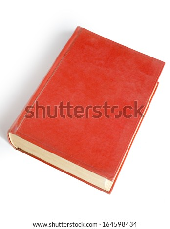 Brown blank book cover over white background - stock photo