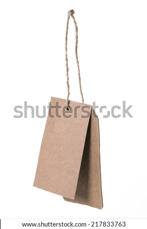 Brown blank price tag isolated on white background
