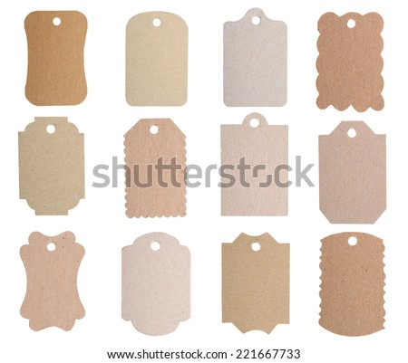Brown blank tags isolated on white background
