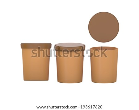 brown  blank Tub Food Plastic Container packaging with clipping path, Plastic package mock up  - stock photo