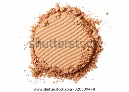 Brown blush crushed make up isolated on white background - stock photo