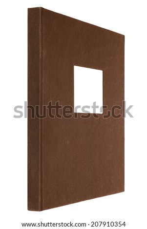 brown book isolated on white, white frame for title on the cover