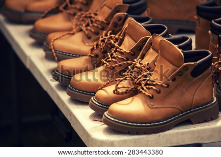 brown boots - stock photo