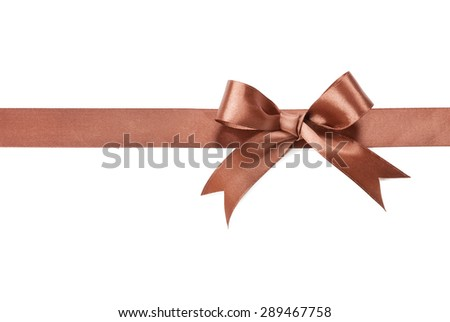 Brown bow and ribbon isolated on white background. - stock photo
