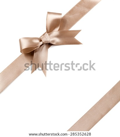 Brown bow isolated on a white background.