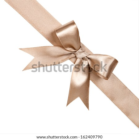 Brown bow isolated on white background - stock photo