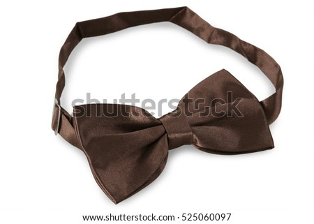 Brown bow Tie, isolated on white background