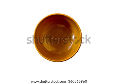 brown bowl isolated on white - stock photo