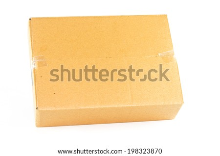 Brown box isolation of a white background. - stock photo