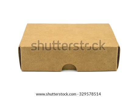 Brown box on a white background. - stock photo