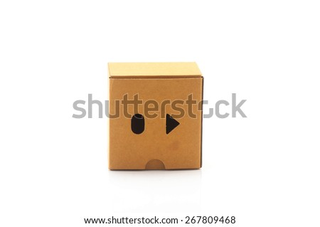 brown box paper, isolated on white background - stock photo
