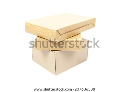 Brown boxes paper overlay on white isolated background.packshot on studio.