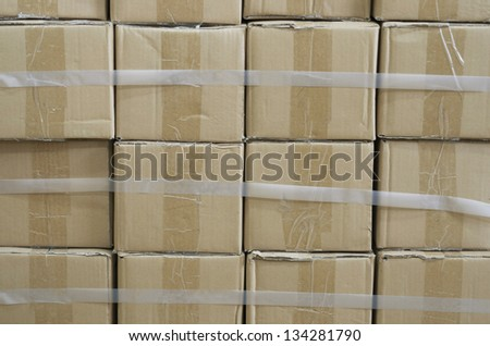 Brown Boxes Stacked - stock photo
