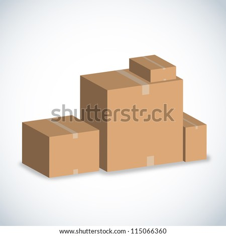 brown boxes stacked on white. - stock photo