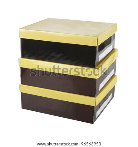 brown boxes with yellow lids isolated on white - stock photo