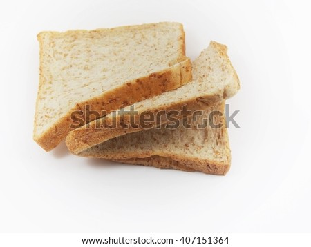 Brown bread slice isolated on white background
