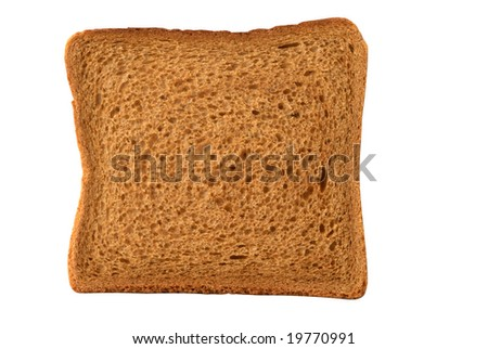 Brown bread toast isolated over white