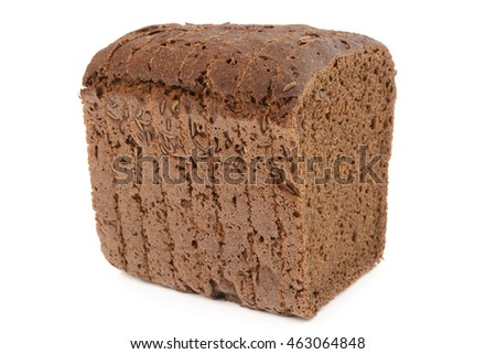 brown bread with caraway on a white background