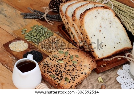 Brown bread with whole grain cereals of sliced - stock photo