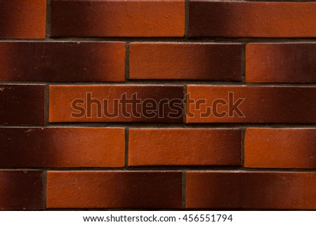Brown brick wall. Can be used for design, websites, interior, background, texture creation, the use of graphic editors, illustration, to create seamless textures. - stock photo