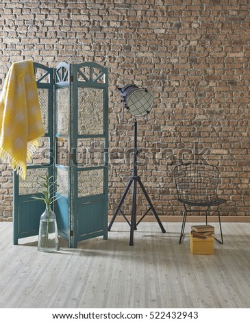 Brown brick wall, dressing area old screen, living room designed for home office interior and decorative