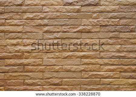Brown bricks wall pattern. - stock photo