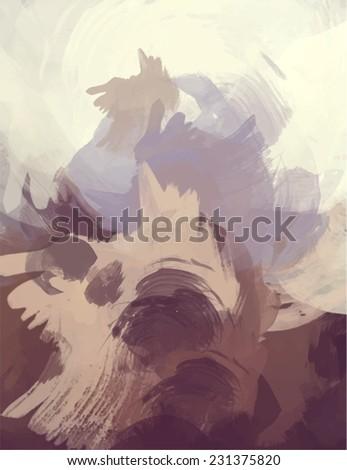 Brown brush stroke paint. Abstract illustration. - stock photo