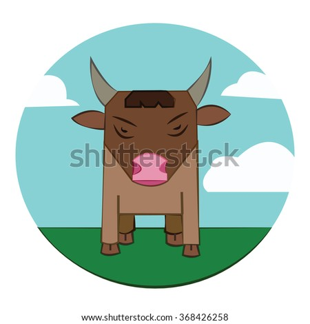 Brown Bull with Horns standing in the green field. Sky with clouds summer landscape. Farm animal in the countryside. Round Icon. Digital raster illustration. - stock photo
