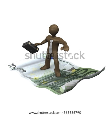 Brown business man manikin surfing on bank note, 3D rendering - stock photo