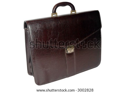 Brown business suitcase - isolated