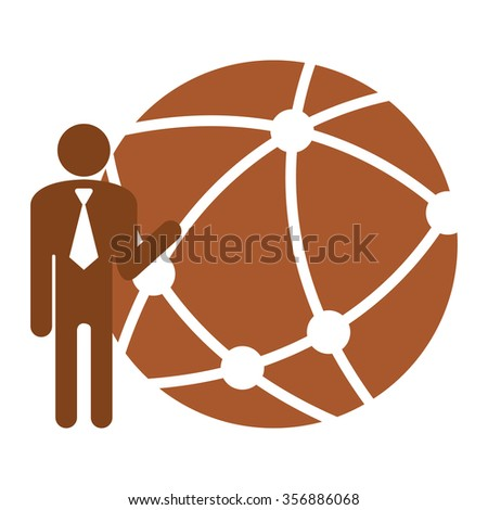 Brown Businessman With Worldwide, Business Connection, Social Network, Global Communication Infographics Flat Icon, Sign Isolated on White Background  - stock photo