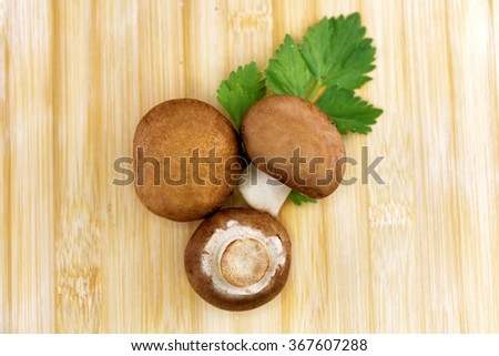 brown button mushrooms - stock photo