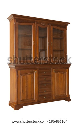 Brown cabinet isolated on white - stock photo