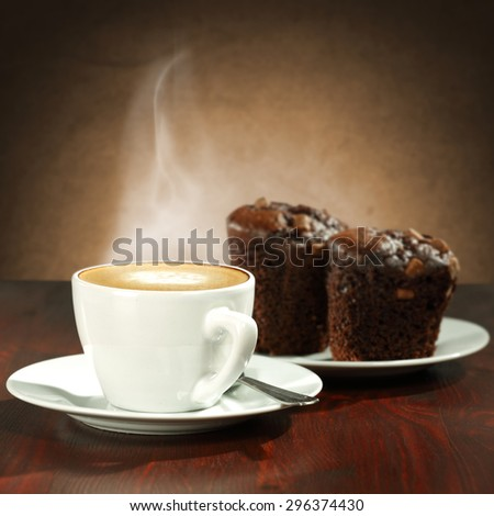 brown cakes and coffee  - stock photo
