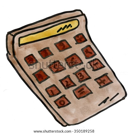 Brown calculator isolated on white background cartoon watercolor - stock photo