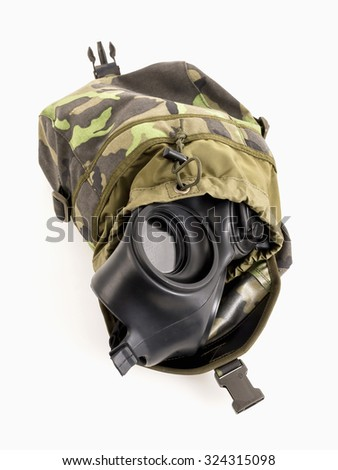 Brown  camouflage army shoulder bag with the gas mask inside  - stock photo