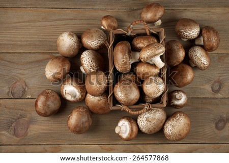 Brown cap mushrooms in basket and around on rustic wooden background. Top view point. - stock photo