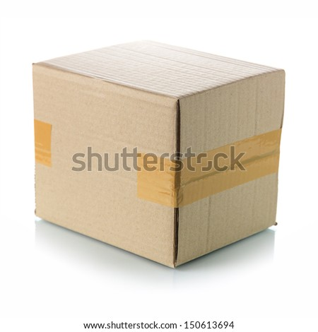 Brown cardboard box - stock photo
