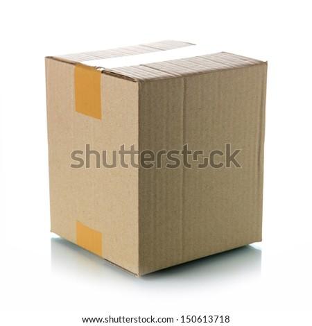 Brown cardboard box - stock photo