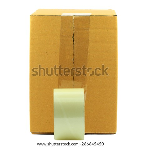 Brown cardboard box as a parcel - isolated on white - stock photo