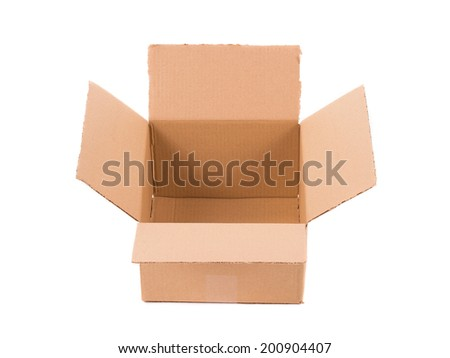 Brown cardboard box. Isolated on a white background.