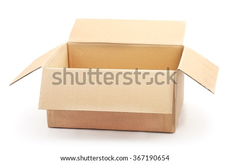 Brown cardboard box isolated on a white background.